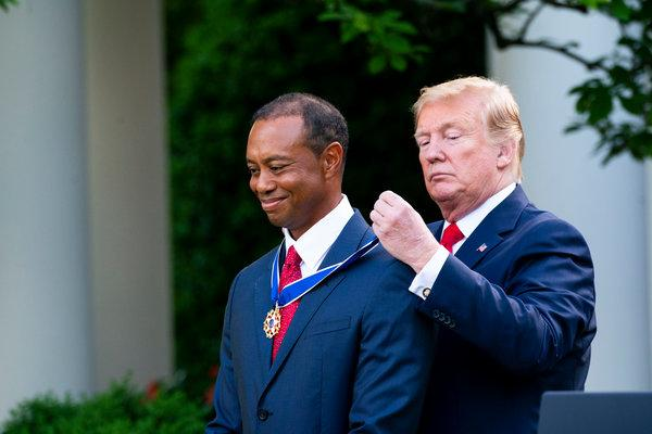 President Donald Trump Gives Presidential Medal of Freedom To Golfer Tiger Woods