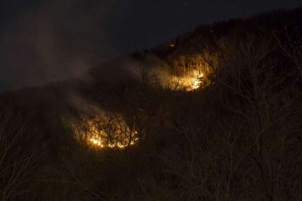 Authorities fighting a fire at the famous hiking site at Delaware Water Gap