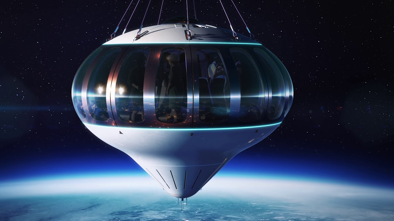 Spaceship Neptune uses a balloon to take tourists to distant shores