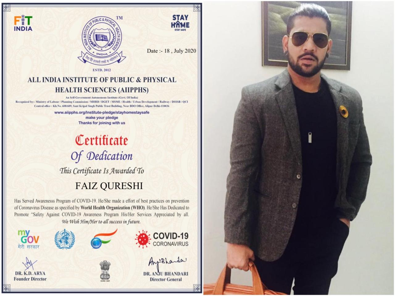 REDDWINGS PRODUCTION'S OWNER – FAIZ QURESHI – AWARDED FOR HIS SERVICE